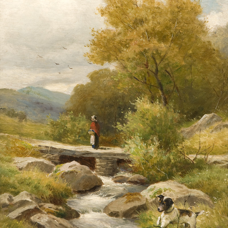 John Bates Noel - Landscape with figure on a bridge & dog