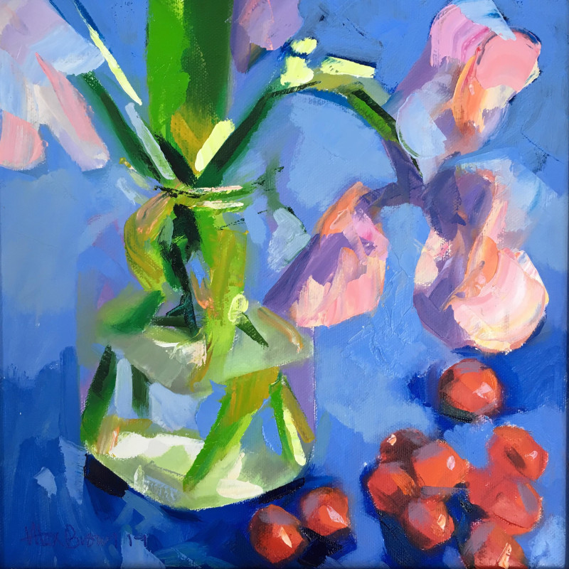 Alex Brown - Pink Iris in kilner jar