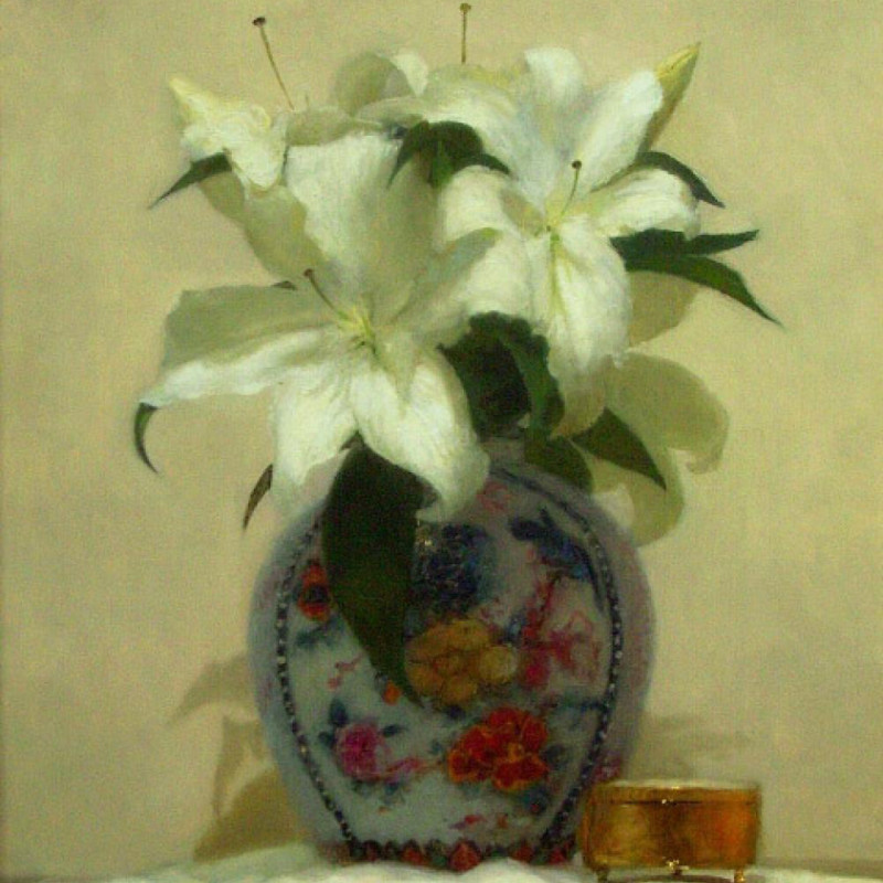 Paul Seaton - Vase of white lilies