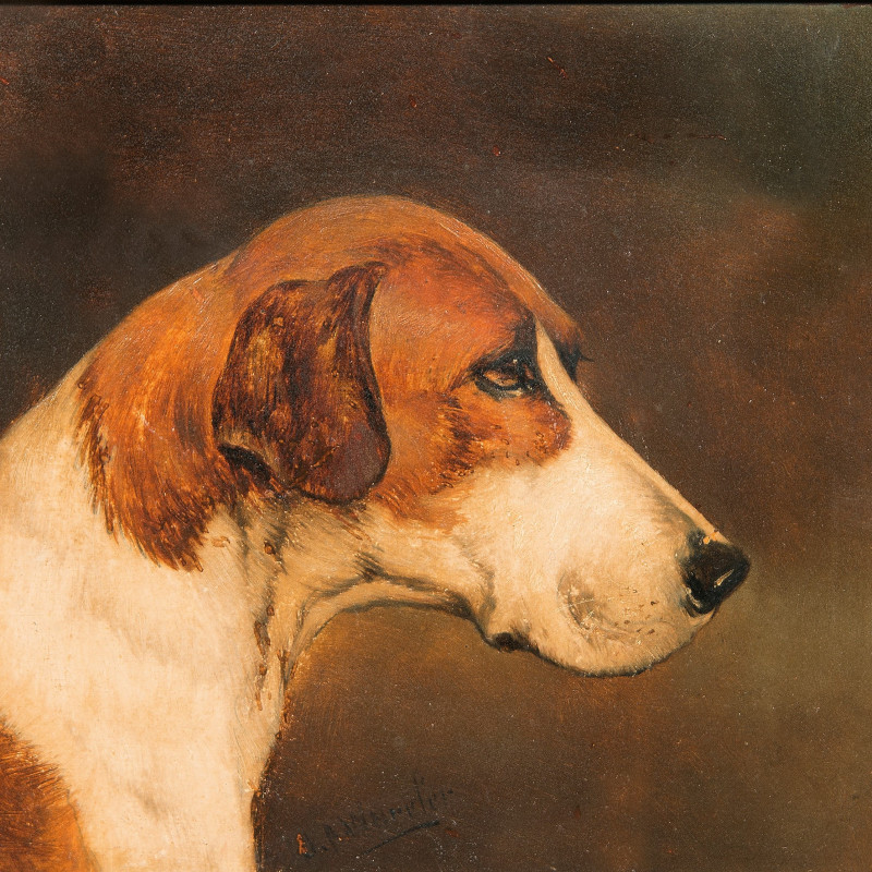 John Alfred Wheeler - Study of Two Foxhound Heads