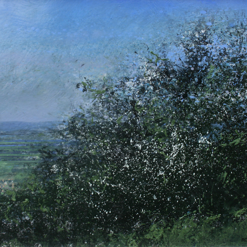 Robert Perry RBSA - A glimpse of Saintbury through the May blossom on Willersey Hill