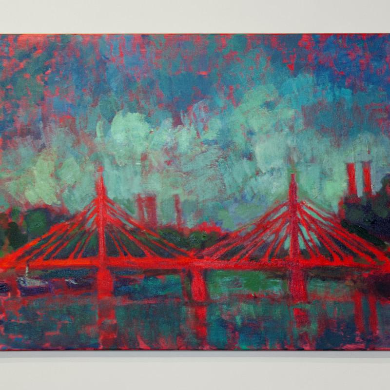 Sophie Birdwood - Albert Bridge with teal sky