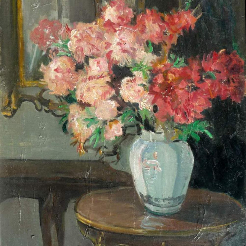Eva Henrietta Hamilton - Interior with flowers on a table
