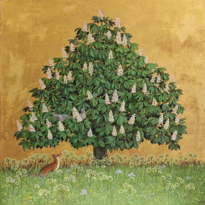 Marcelle Milo Gray Horse Chestnut SOLD Mixed media 19 1/2 x 19 1/2 in 49.5 x 49.5 cm