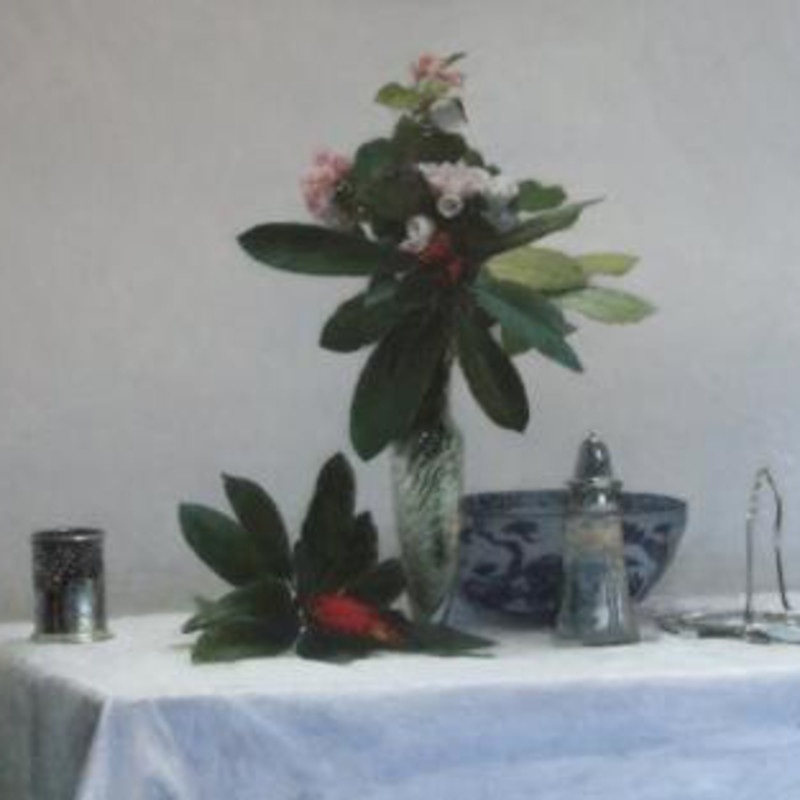 Paul Seaton - Rhododendron with blue, white & silver II