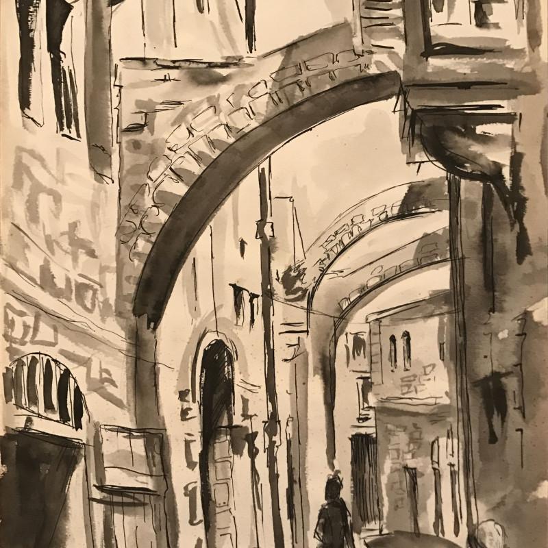 Kamal Boullata, Untitled (Jerusalem street scene), Circa 1962