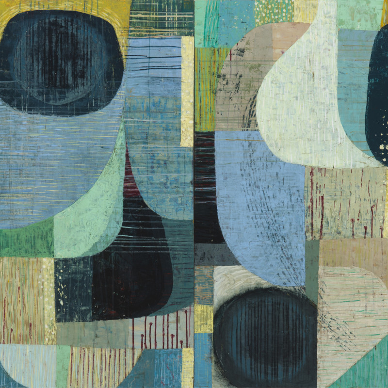 Claire B Cotts  Maybe, Leaning Toward Yes (Ambergris)  acrylic on canvas  48 x 72 inches