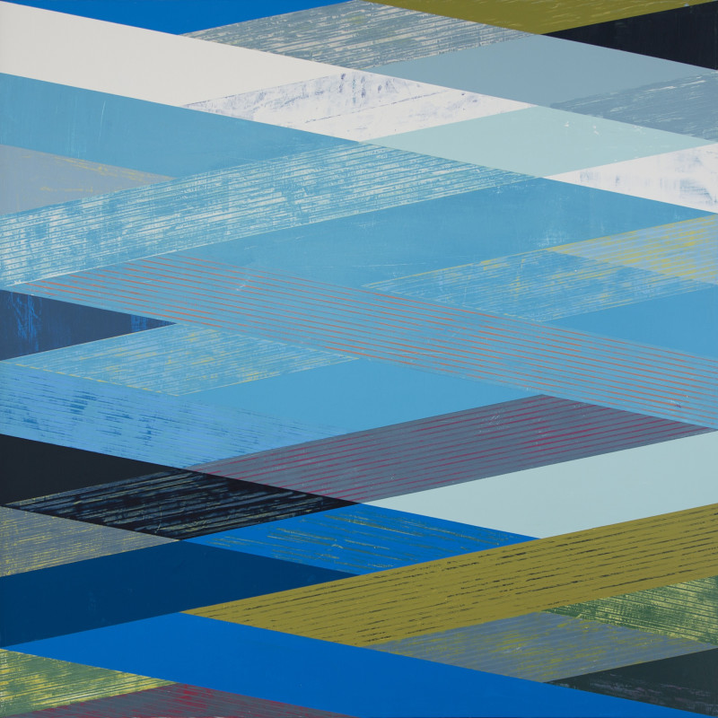 Sunny Taylor  Woven Landscape with Blue  acrylic on panel  48 x 48 inches