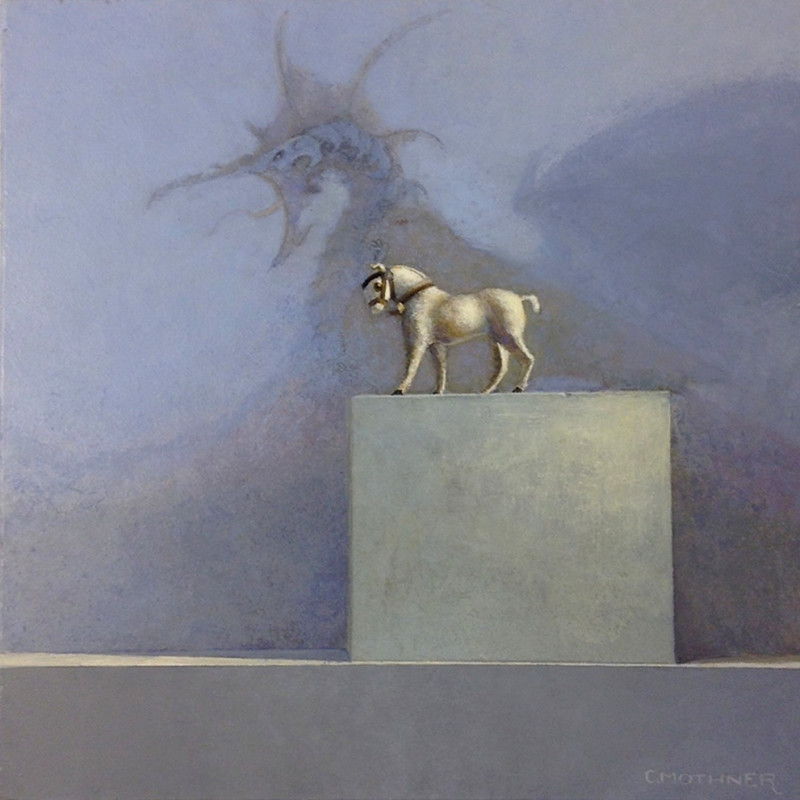 Carol Mothner Honor the little white horse acrylic on panel 7 x 7 inches (unframed)
