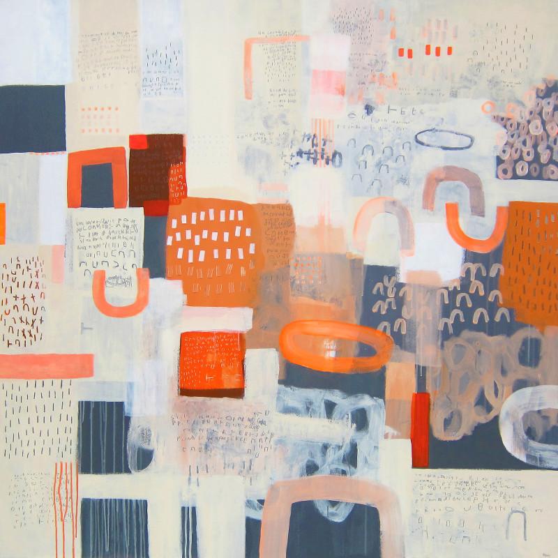 Guillaume Seff Ce qui l'en est mixed media on canvas 56 x 56 inches