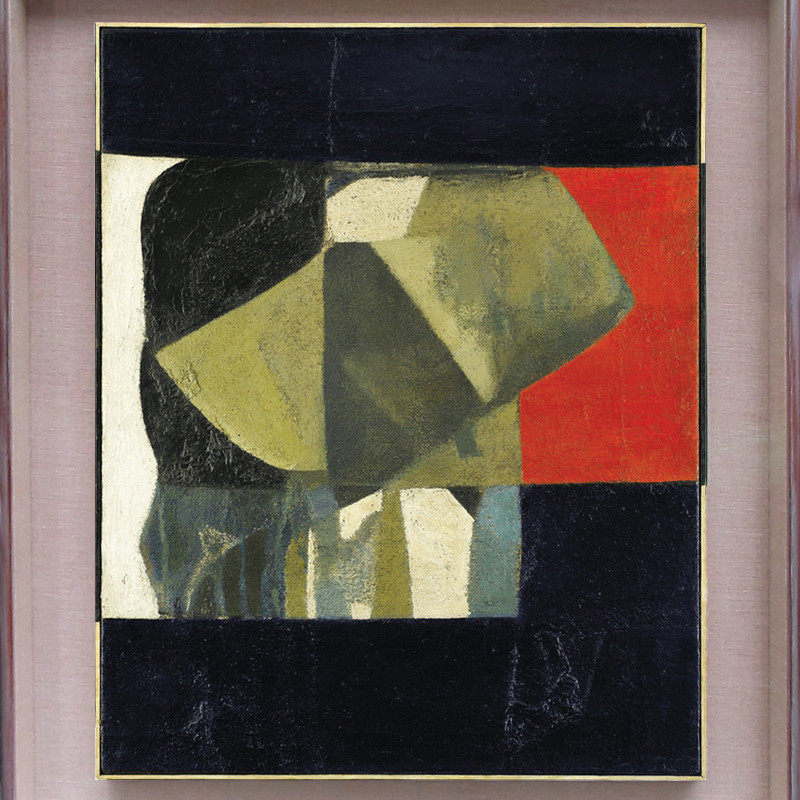 Composition Black & Red  signed, dated 1952 and indistinctly titled verso  oil and mixed media on canvas  76 x 61 cms (30 x 24 ins)  framed: 99 x 83 cms (39 x 32 .5 ins)