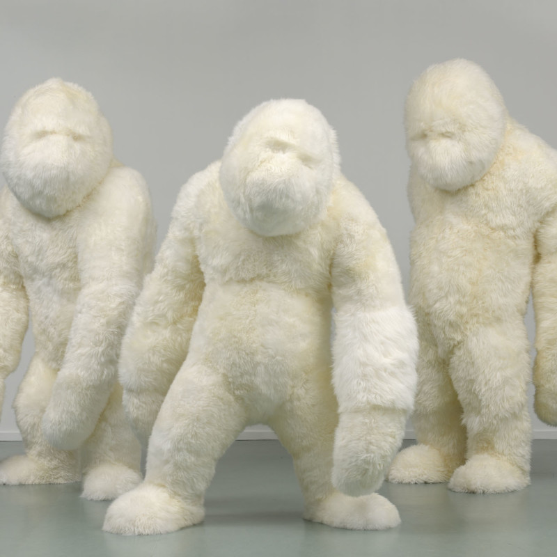Marjolijn Mandersloot  The Three Hunks, 2010  Sheepskin  200, 225 and 200 cm  € 15.000 per work