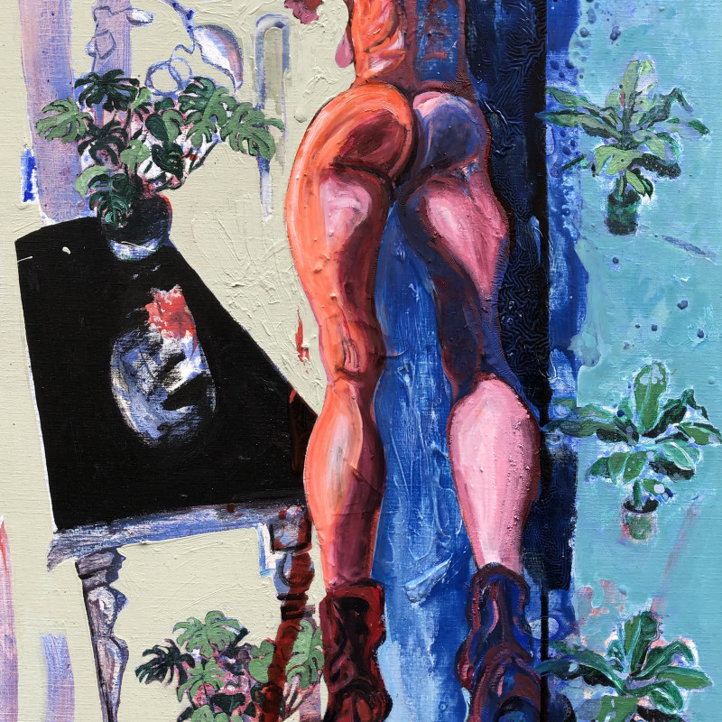 Rob Visje  Woman with plants, 2019  Mixed media  100 x 80 cm
