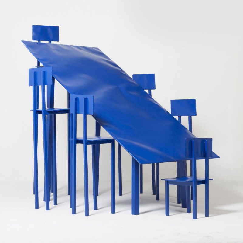 Blue table with chairs