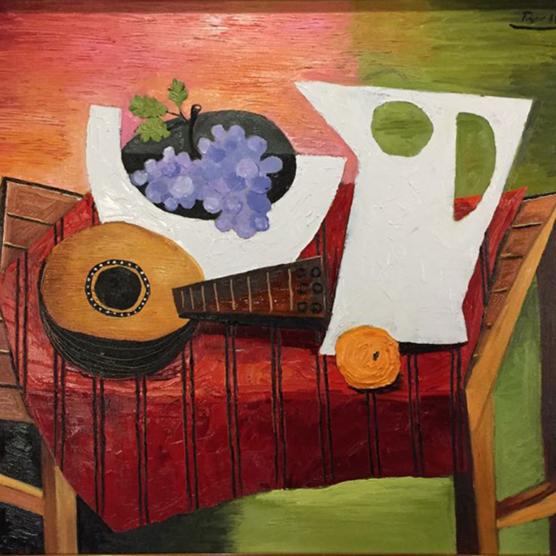 Erik Renssen - Still life with mandolin, grapes, pitcher and orange, 2018
