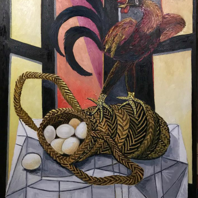 Erik Renssen - Rooster on a basket with eggs, 2019