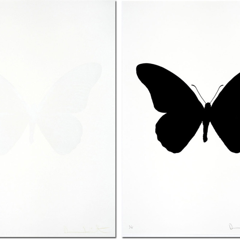 Damien Hirst, Souls IV raven black/cotton white- sold as a pair