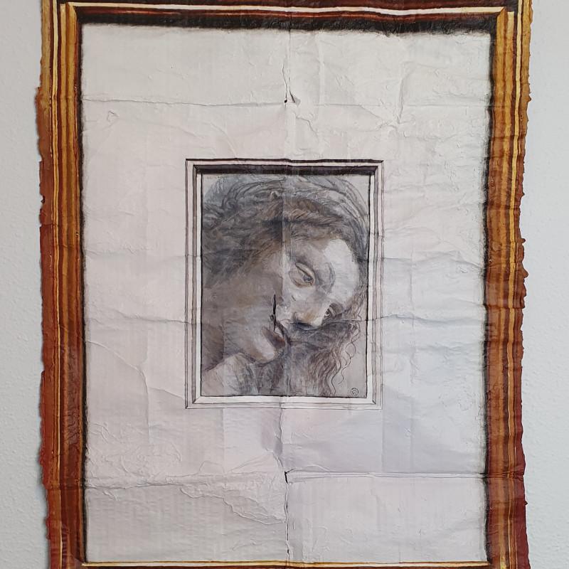 """Julio Anaya Cabanding, Leonardo da Vinci. """"Cabeza de la Virgen vista de tres cuartos, mirando a la derecha"""", 2020"""