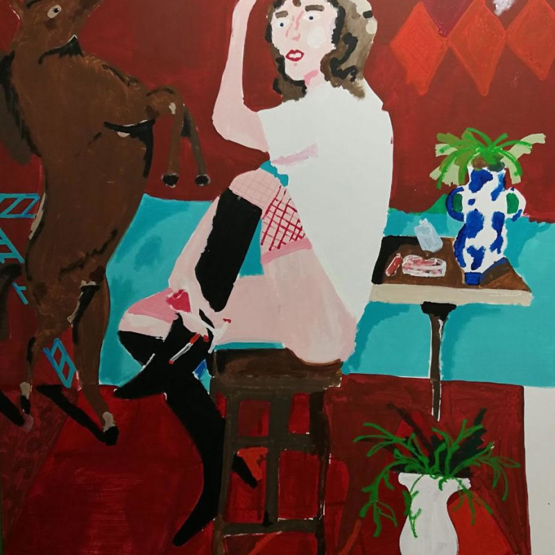 Woman In Red Room With Her Horse (Statue), 2017