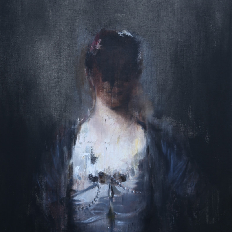 Portrait of a Woman in a White Silk Dress, after Reynolds, 2016
