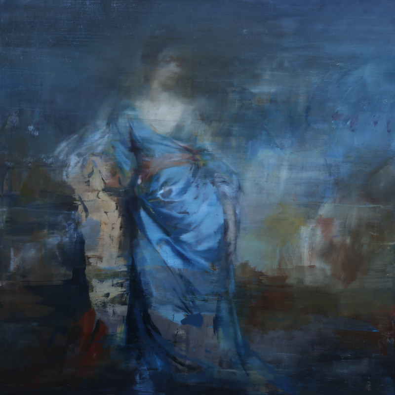 Portrait of a Woman in Blue Silk, after Reynolds, 2017