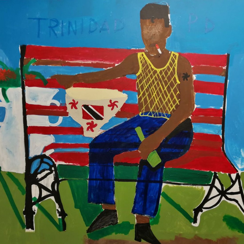 Calypso Musician Sitting on a Red Bench, 2017