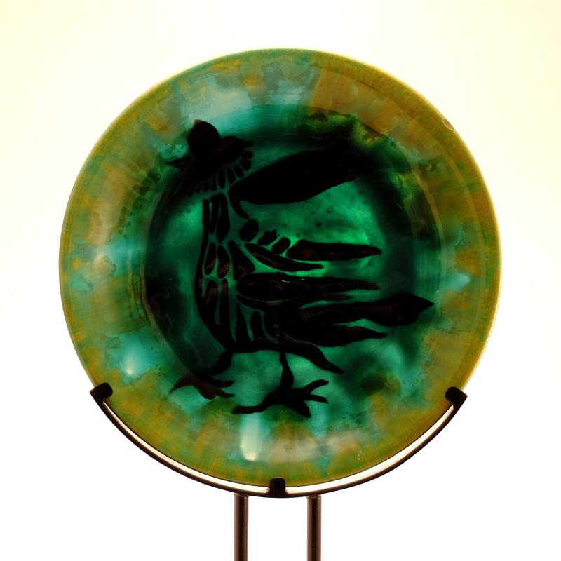 Jean Lurçat, Plate - Green - Waking Rooster, 1955