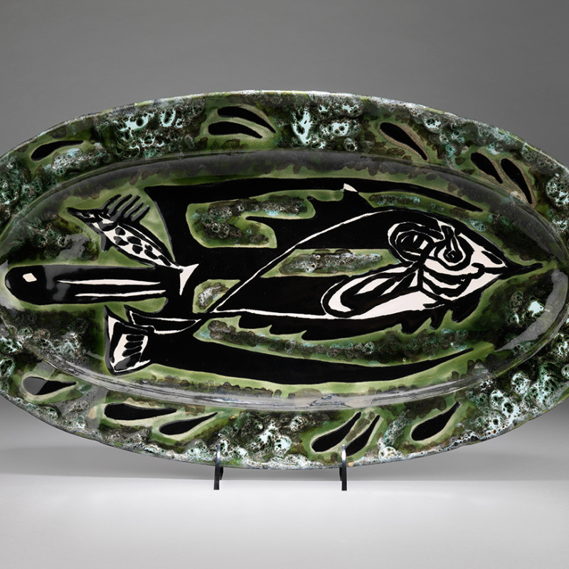 Jean Lurçat, Plate - Oval - Green & White - Trident, c. 1955