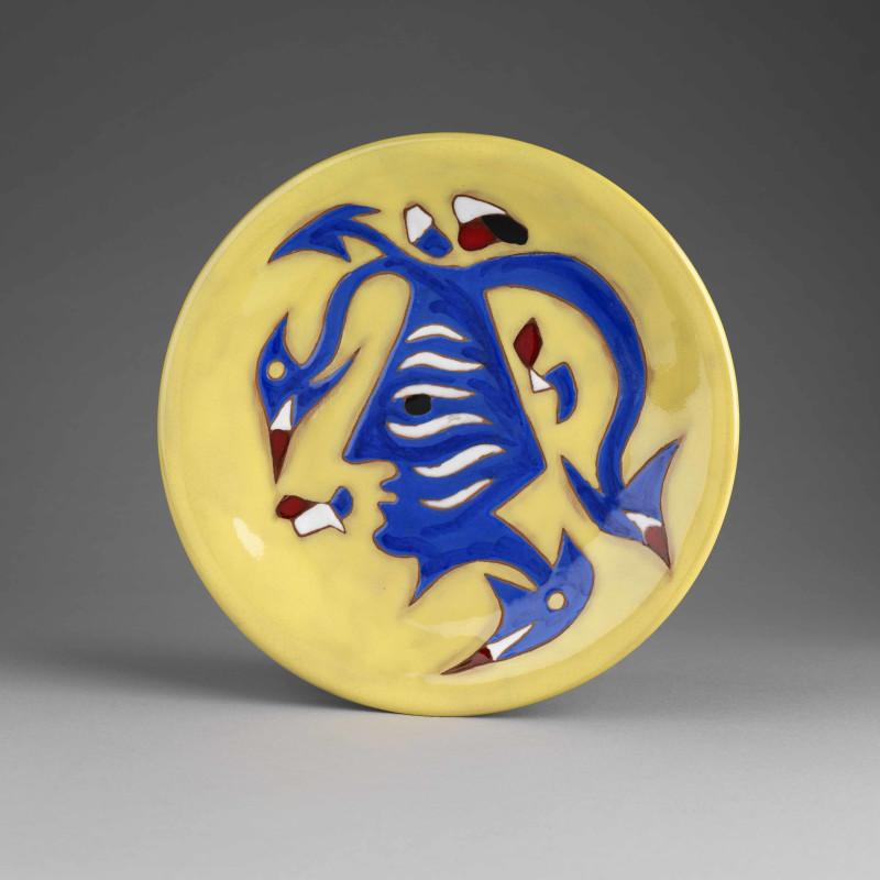 Jean Lurçat, Plate - Yellow - Jester, c. 1955
