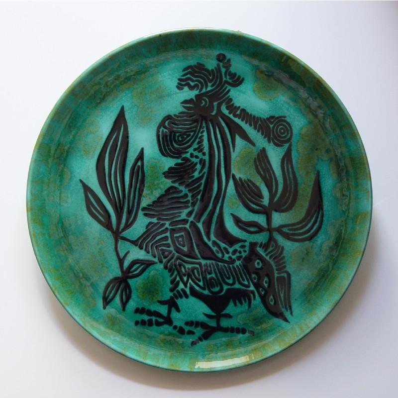 Jean Lurçat, Plate - Green - Combatant, c. 1955