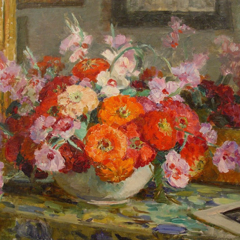 Mildred Bendall, Zinneas and Sweetpeas, c. 1920