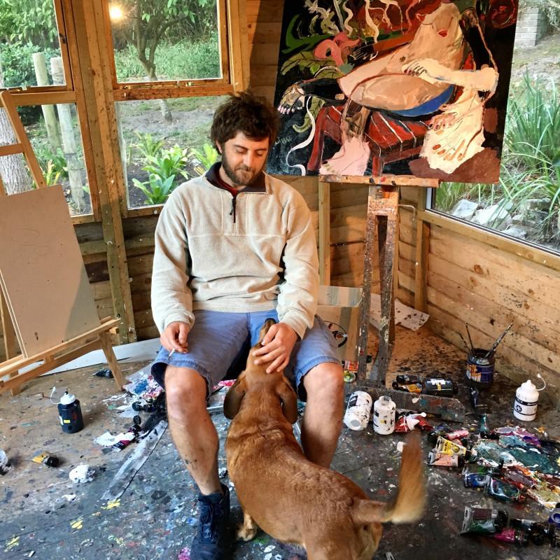 John-Michael in Knysna studio with Bear, 2017