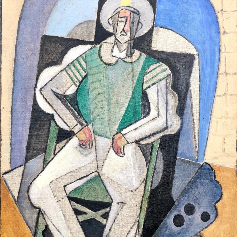Marie Marevna (1892-1984) L'Homme aux boules de Pétanque a Juan-les-Pins, 1937 Oil on canvas