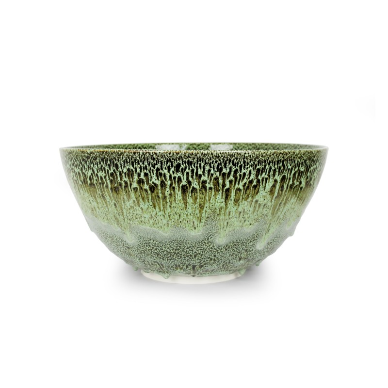 Albert Montserrat, Moss Agate Bowl, 2019, Oil Spot and Glazed Thrown Porcelain