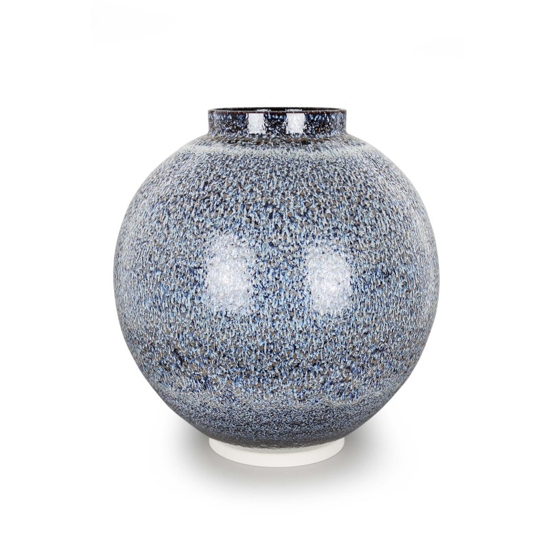 Albert Montserrat, Bronze Dotted Jar, 2019, Oil Spot and Glazed Thrown Porcelain