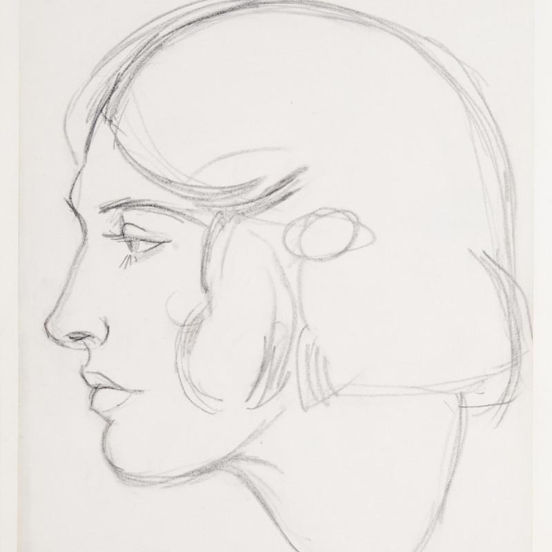 J.D. Fergusson, Meg, Conté crayon on paper, 9 7/8 x 8 1/2 inches