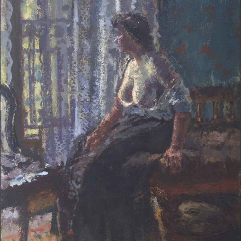 "Walter Sickert 1860-1942, Seated Woman, Mornington Crescent, c.1908–9 (detail). Oil on canvas, signed ""Sickert"", bottom right, 51 x 40.5 cm (20 x 16 inches)"
