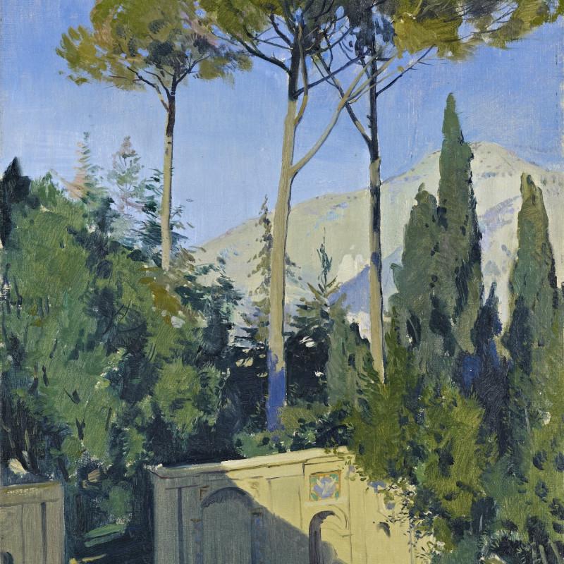Sir Herbert James Gunn 1893-1964, The Garden of the Villa D'Este (detail). Oil on canvas, 23 1/2 x 17 1/2 inches (59.7 x 44.5 cm)