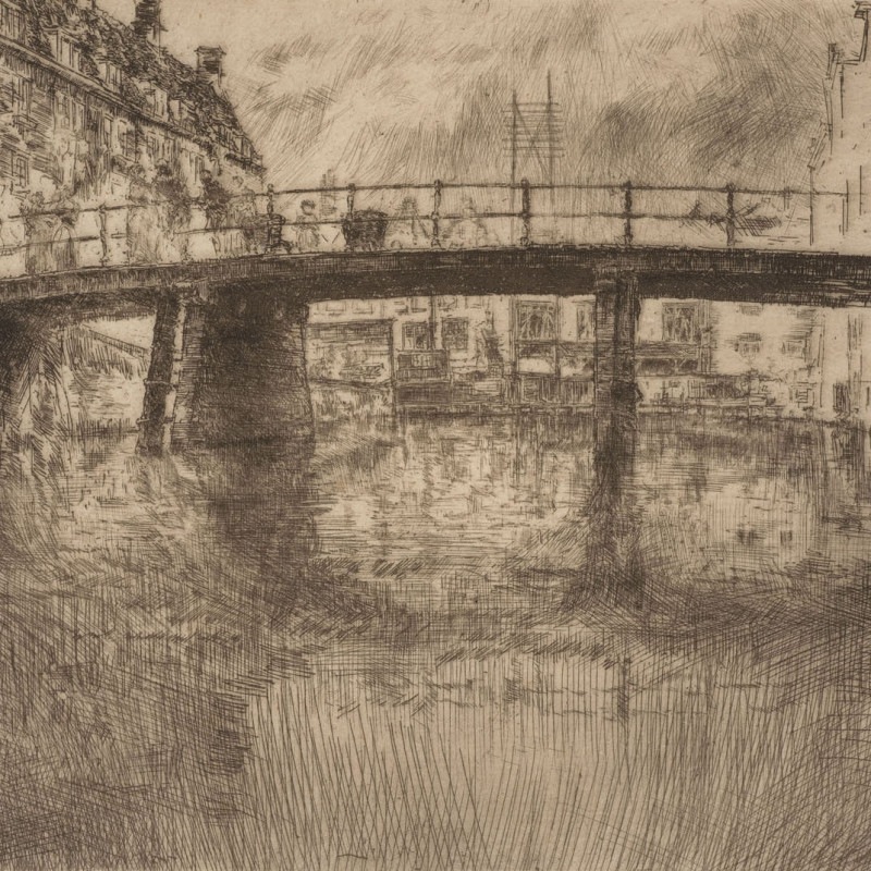 James McNeill Whistler, Bridge, Amsterdam, 1889 (detail). Etching, signed in pencil with a butterfly and inscribed imp.; also signed in pencil on the verso with a butterfly and numbered 11, printed in brown ink on thin laid paper; trimmed on the platemark, leaving a signature tab; there was no published edition 6 1/2 x 9 1/2 inches (16.5 x 24.1 cm)