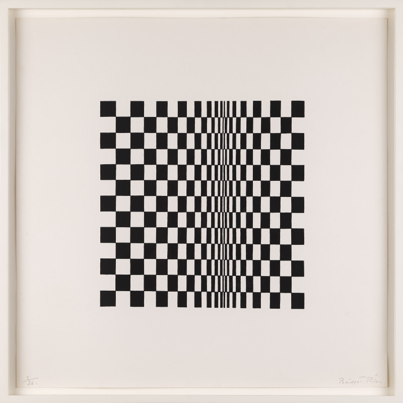 Bridget Riley (b.1931), Untitled (Based on 'Movement in Squares') (100), 1962.Screenprint, signed Bridget Riley, lower right, printed on wove paper, numbered 3 from the edition of 26,plus one artist's proof, 11 ½ x 11 ¼ inches (29.2 x 28.6 cm) sheet 20 ½ x 20 ½ inches (52 x 52 cm)