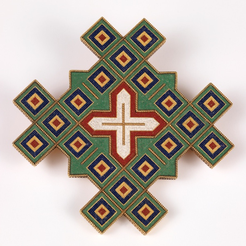 Alessandro Castellani 1823-1883, Byzantine-style micromosaic brooch (4), c.1875. Multi-coloured glass tesserae, the separate motifs edged with twisted gold wirework. Signed with intertwined Cs.