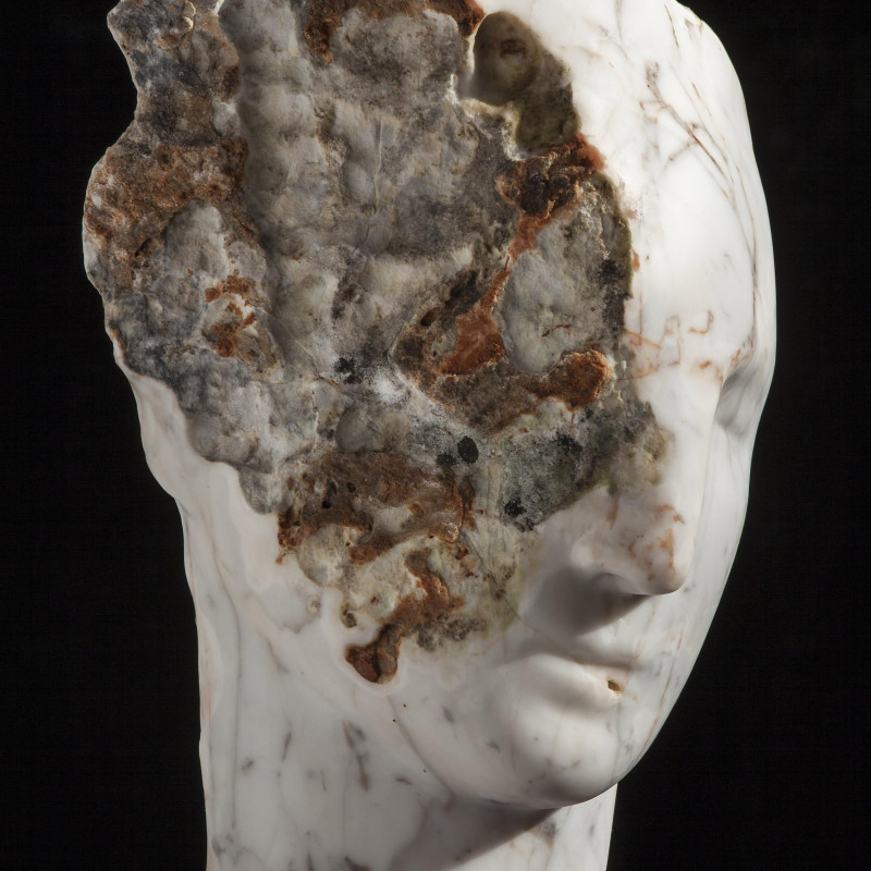 Emily Young, Rosea Marble Head, 2015. Rosea Marble, 30 x 20 x 26 cm