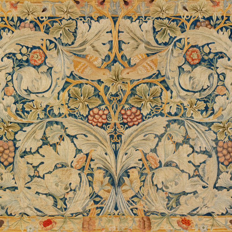 William Morris, Vine and Acanthus embroidery, designed c.1877 (detail). Silk, lined with indigo-discharge printed cotton, 94 3/4 x 70 inches (241 x 178 cm)