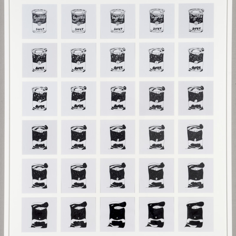 Rob and Nick Carter, Campbell Soup's Can, after Andy Warhol (1962) 2015 (detail). 30 different artists pen on paper, 51 × 60 inches (130 × 152 cm)