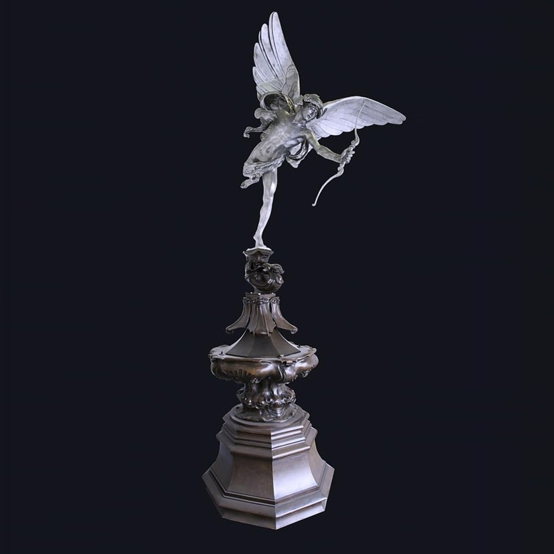 Sir Alfred Gilbert 1854–1934, Eros. Conceived c.1893. Aluminium with a stainless steel armature, raised on a bronze scroll and supported by a bronze fountain base. Height 190 inches (483 cm), inscribed 'George Mancini / Fas 5 / 10'. Edition 5 of 10