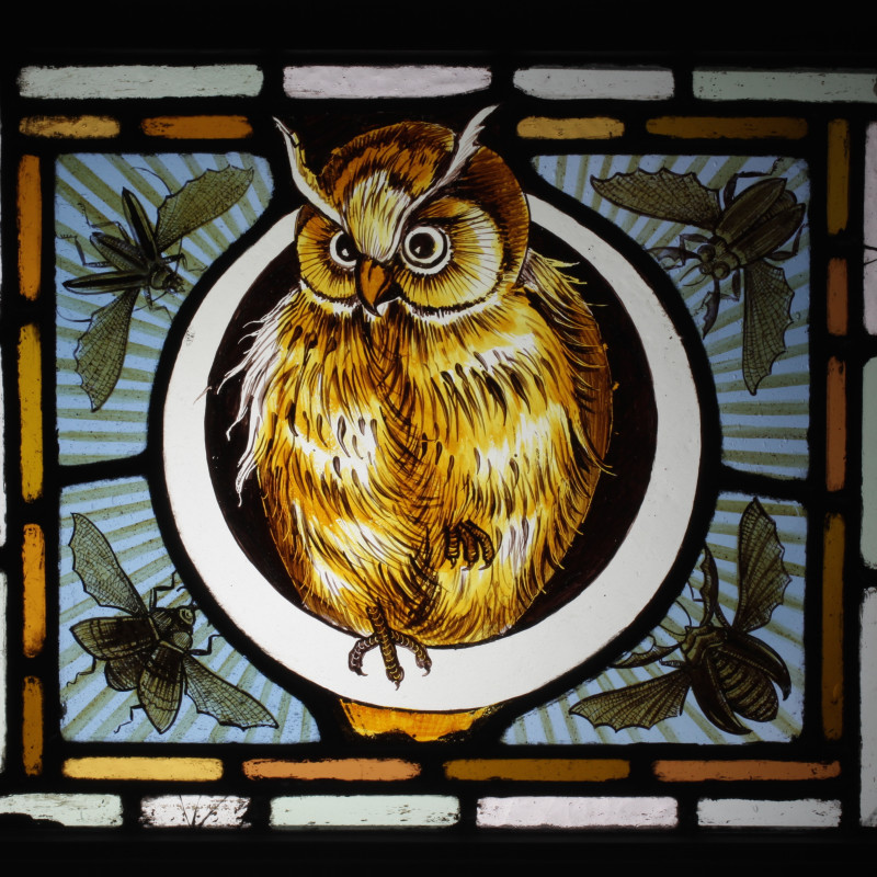 Pair of Owl stained glass windows (one of two), c.1880. Stained & leaded glass, H: 31 cm / 12 in; W: 37 cm / 14 1/2 in