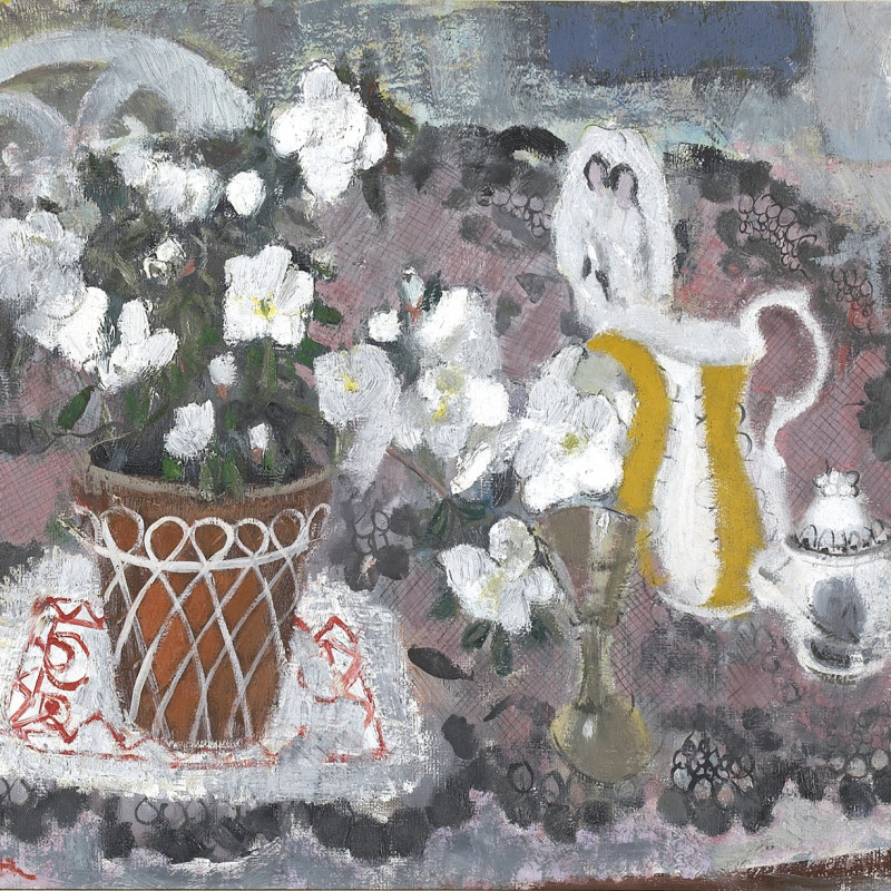 Anne Redpath 1895-1965, The White Azalea, 1951. Oil on canvas, 20 x 30 inches (50.8 x 76.3 cm)