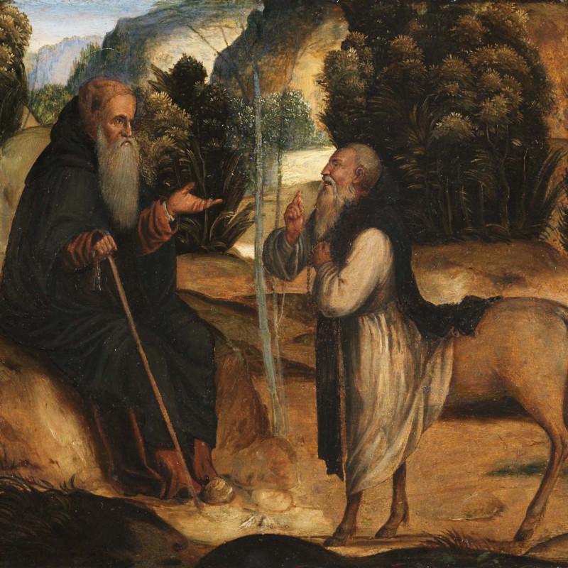 Benedetto Cincani - Detto Montagna 1481-1550, Saint Antony and the Centaur. Oil on panel, 11 x 26 inches (28 x 66 cm)