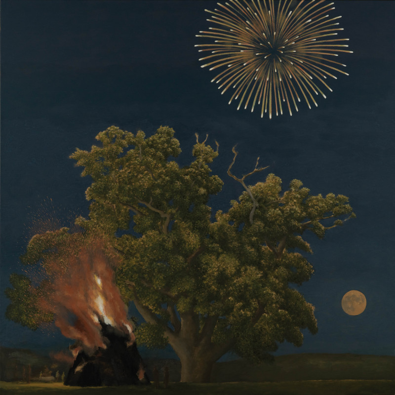 David Inshaw, Oak Tree, Bonfire, Moon and Firework, 2012 (detail). Oil on canvas, 60 x 60 inches (152.5 x 152.5 cm)