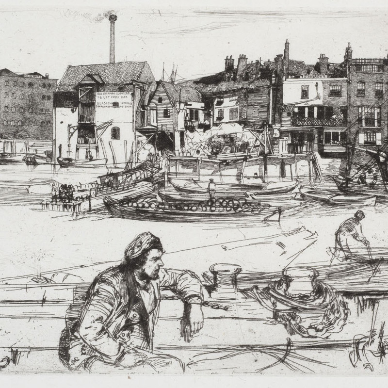Black Lion Wharf, 1859 (detail). Etching and drypoint, 6 x 8 7/8 inches (15 x 22.5 cm) sheet 8 x 13 inches (20.3 x 33 cm)